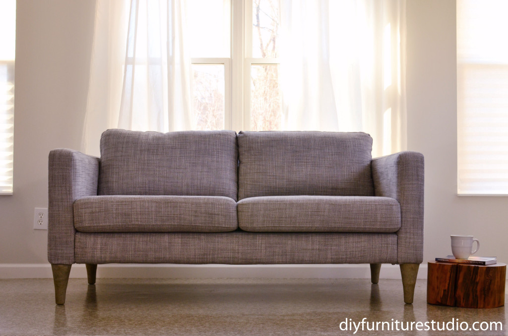 DIY cement replacement sofa legs for IKEA and other brands hack feature photo with tree stump side table