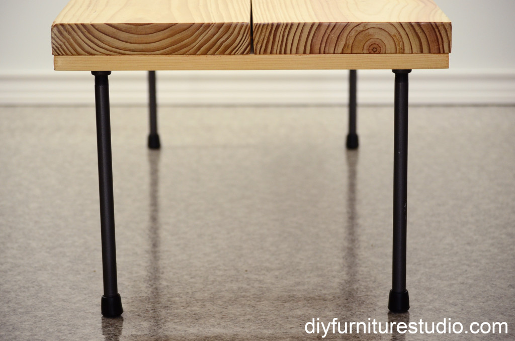 Diy Rustic Modern Coffee Table Or Bench With Plumbing Pipe Legs View From One End