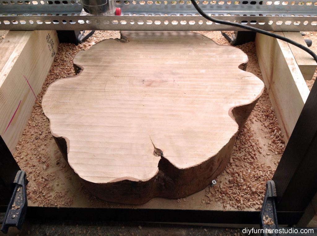 router jig flattened wood tree stump