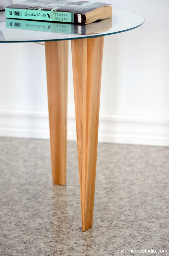 DIY tapered legs made of wood shims.