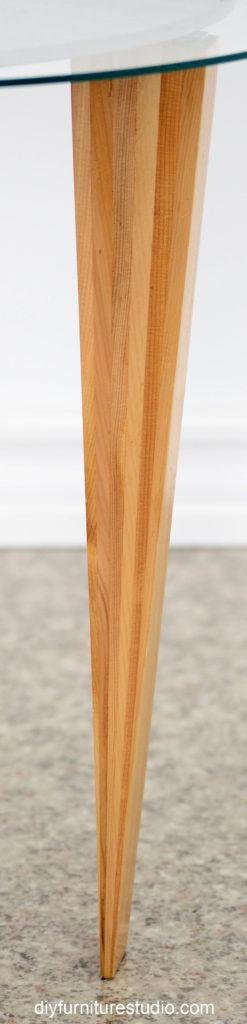 DIY furniture table leg made of wood shims