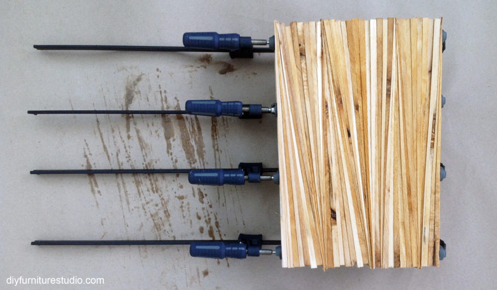 clamp up first batch of wood shims