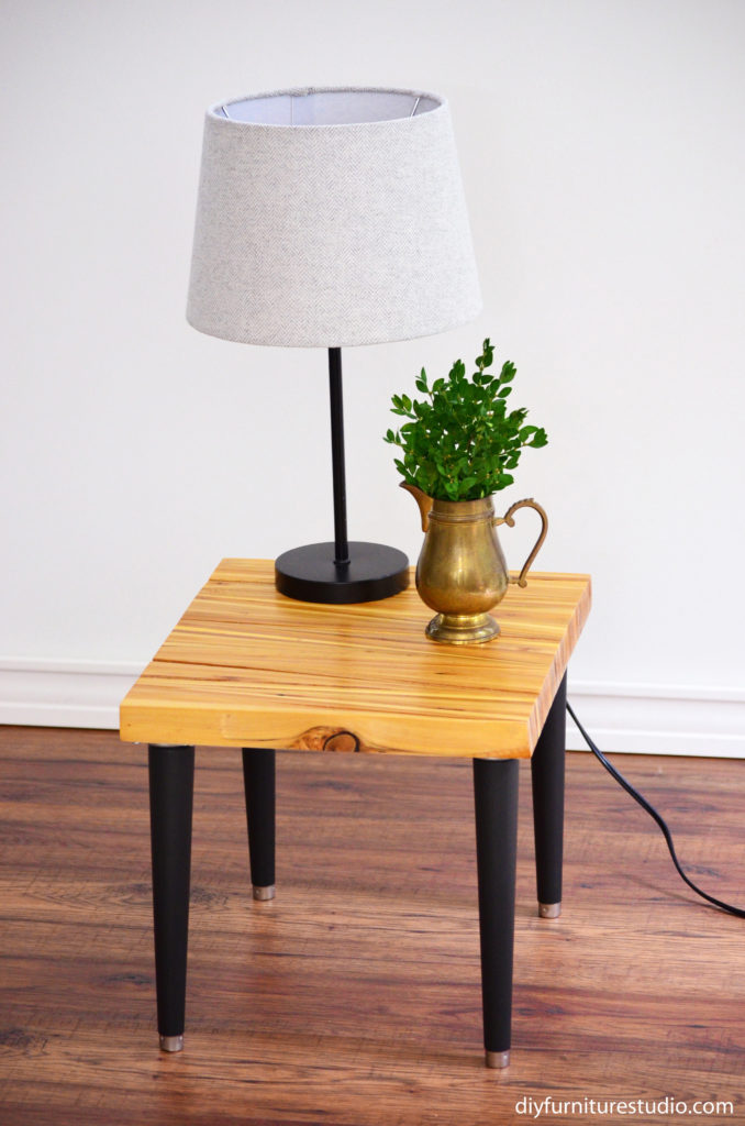 Wood Shim Side Table With Tapered Mid Century Modern Legs