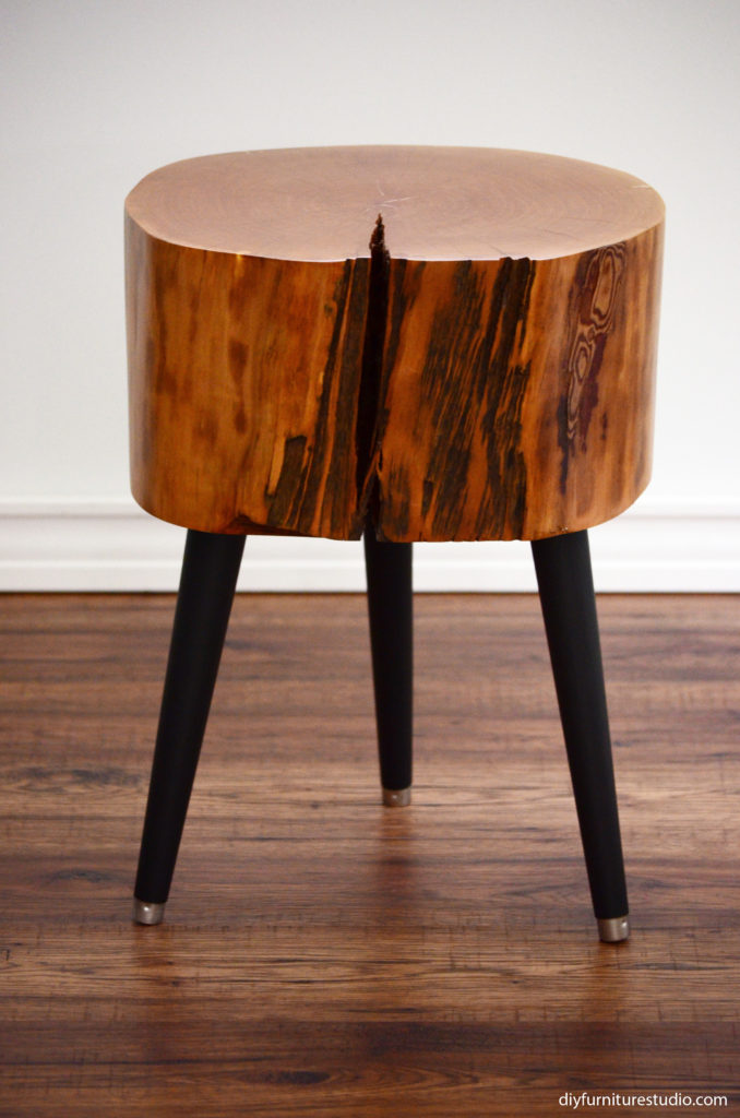 Stump Table With Black Mid Century Modern Legs