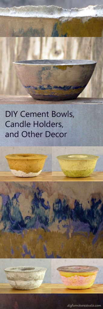 DIY cement bowls, candle holders, vases, and other decor. Tinted with latex paint. Tutorials.