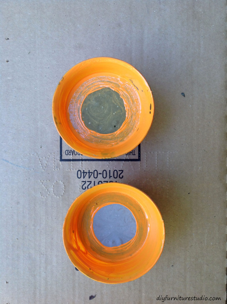 Orange paint--DIY cement tealight holder.