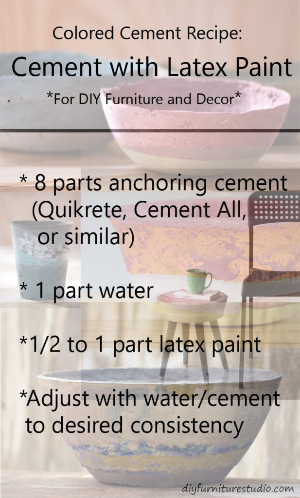 Recipe for cement colored with latex paint.