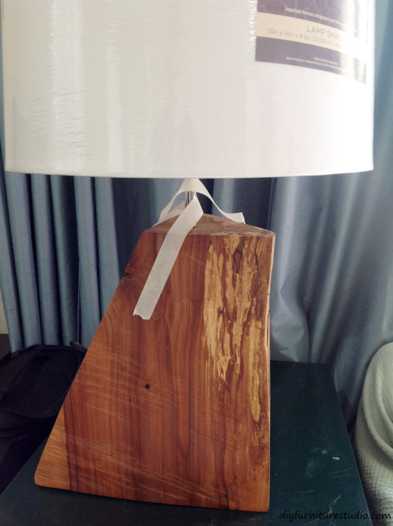 DIY natural table lamp. Gluing neck into the wood.