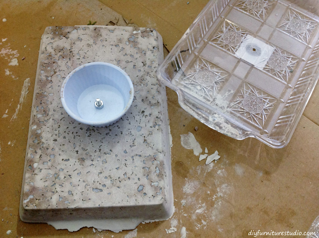 Removing mold from concrete castings. DIY concrete cake stand or centerpiece.
