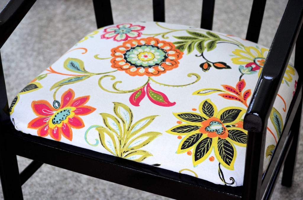 This is a makeover project, and this chair was long overdue. I bought this chair for $10 about 20 years ago. Soon after I bought it, a friend recovered the seat with a neutral, if not boring, fabric. We used it for a few years, then it ended up in the basement for at least the last 10 years. No one sat on it. It was up against the wall by the ping-pong table, and balls always seemed to get caught underneath it.