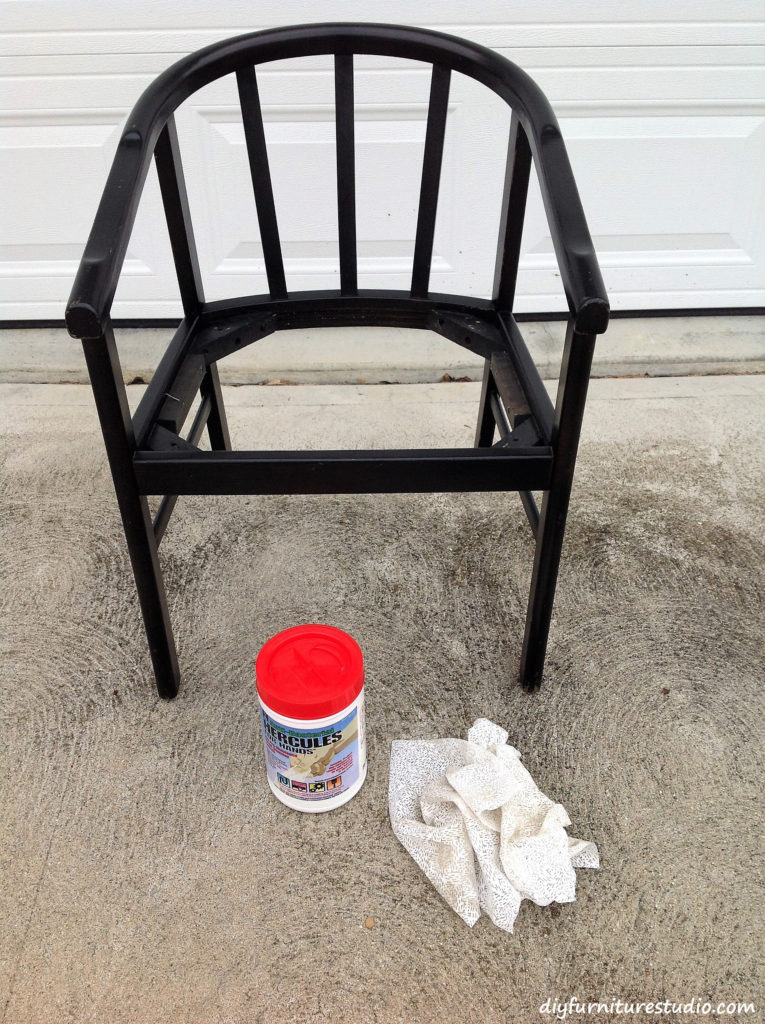 Chair Makeover. Cleaning and deglossing before repainting.